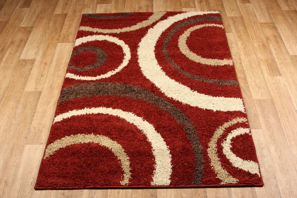 Aura red brown cream rug 3922c for Cream and red rugs