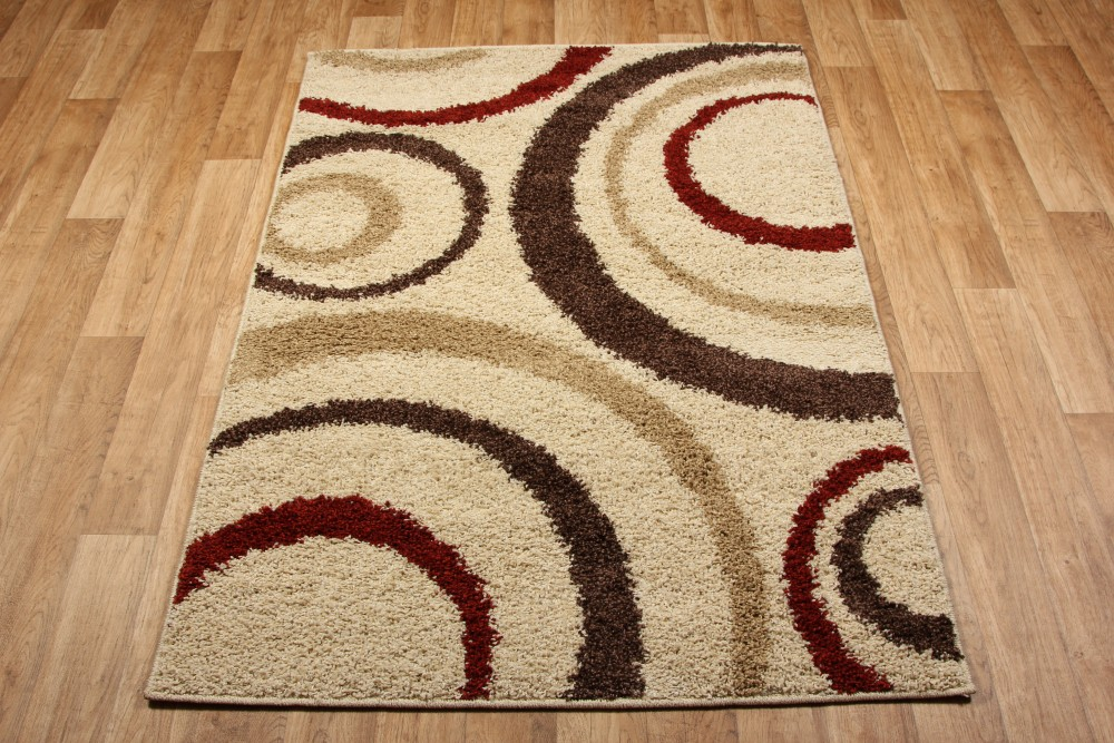 Aura cream brown red rug 3922w for Cream and red rugs
