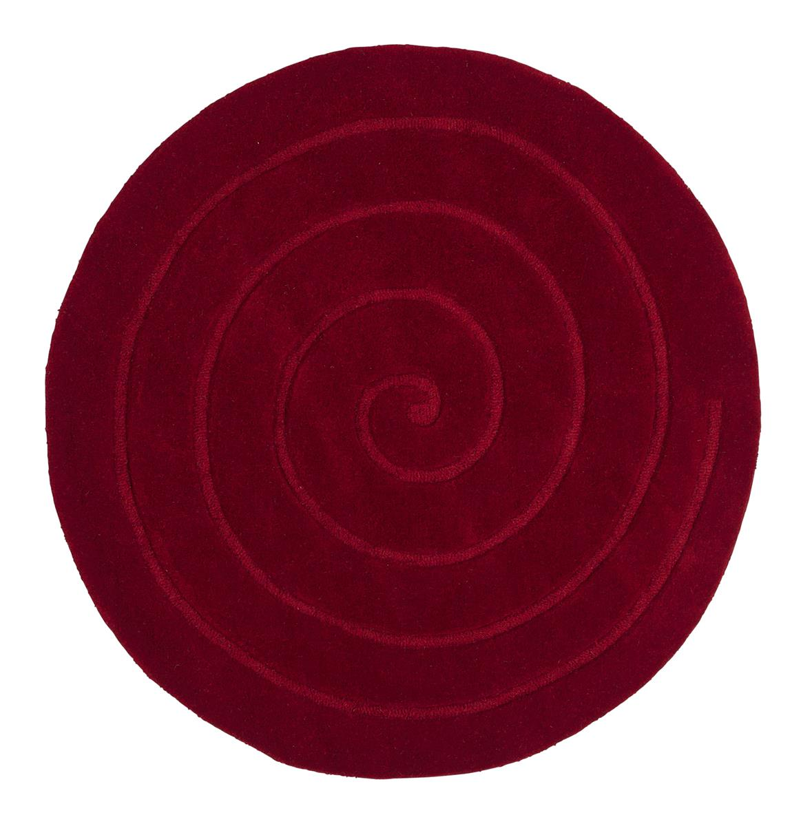 Spiral Red Circle Rug   Contemporary Luxury Wool Circular Rugs