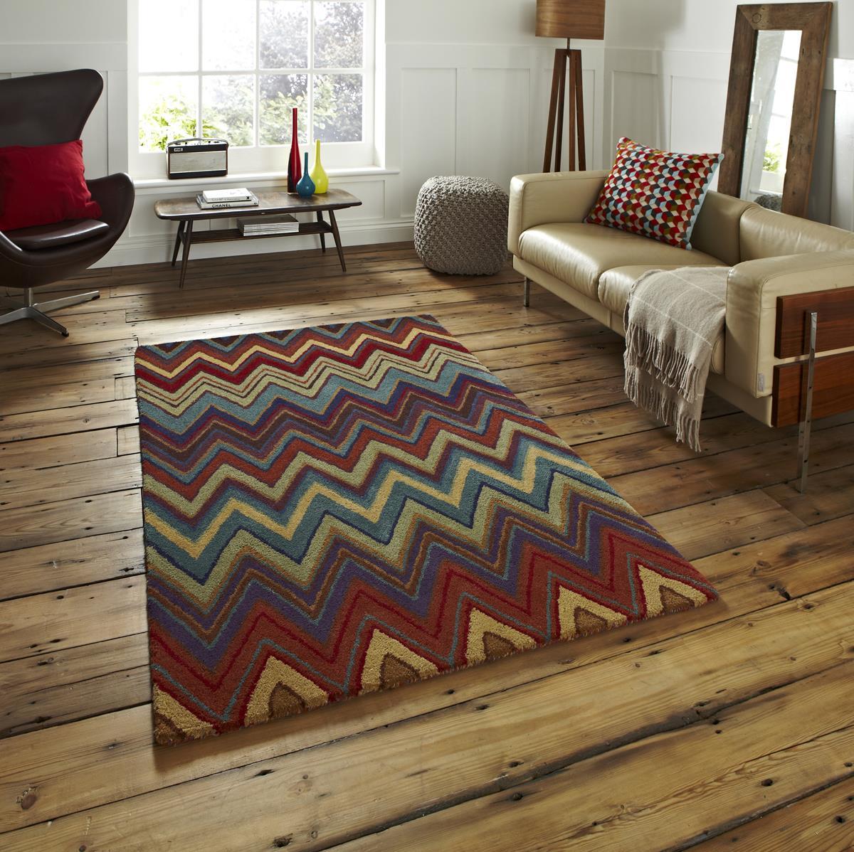 Aztec Tribal Multi Colour Wool Area Rugs