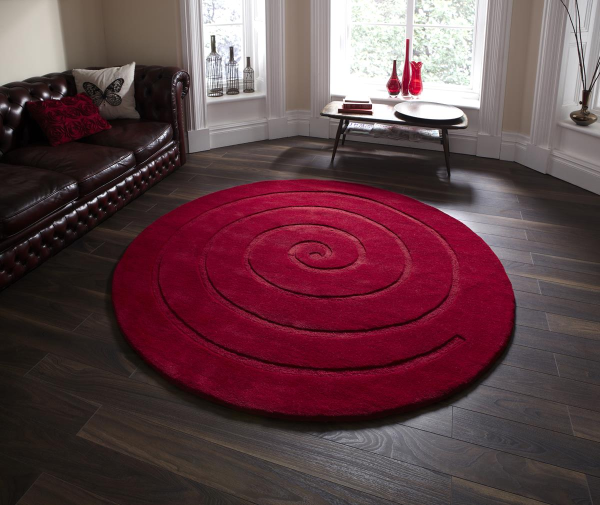 Red Circle Rug Home Decor